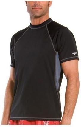 Speedo Men's Solid Loose-Fit Short Sleeve Rashguard Swim Tee
