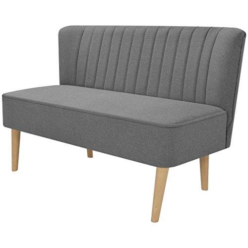 Festnight Sofa 2-Sitzer-Sofa 2-Sitzer Couch Loungesofa Wohnzimmersofa Stoffpolsterung Holzrahmen 117x55,5x77cm für Wohnzimmer Büro - Hellgrau