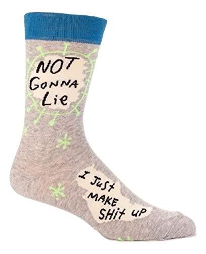 Blue Q Men's Crew Socks, Not Gonna Lie, I Just Make Shit Up (fits shoe size 7-12)