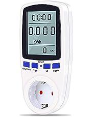 Energiekostenmeter, stroommeter, energiemeter, stroomkostenmeter, stroomverbruiksmeter KWh meter, wattmeter, stroommeter, stopcontact met overbelastingsbeveiliging (wit)