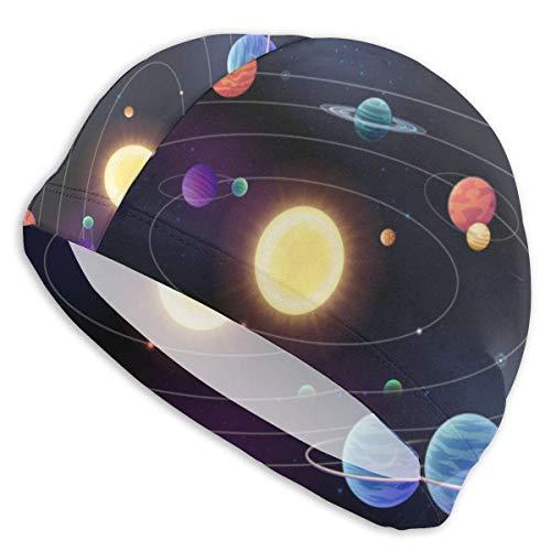 Badekappe Planetts, die Sich um Sonnenbahnen bewegen Sonnensystem-Schwimmhut für Erwachsene Schwimmbad-Badekappe