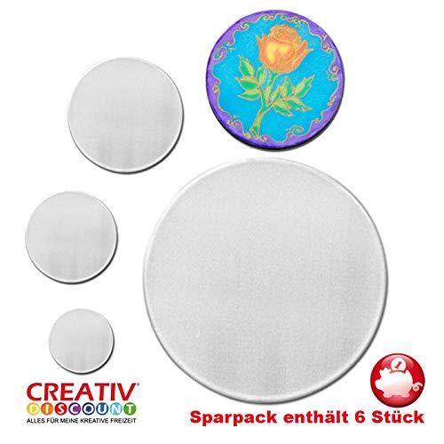 CREATIV DISCOUNT® NEU Sparpack Fensterbild, weiß,10 cm Rund, 6 Stück