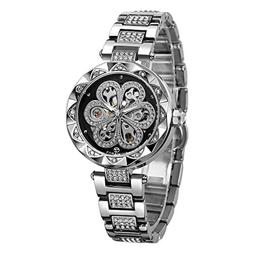 Montloxs Reloj para Mujer Relojes mecánicos automáticos con Correa de Acero Inoxidable Diseño clásico Hueco Pantalla Luminosa Reloj de Pulsera de Moda
