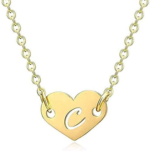 ZGYFJCH Co.,ltd Collar Mujer Collar Collar Romántico Amor Corazón Letra Colgante Collar para niñas Mujeres Inicial Hueco Alfabeto Colgante Collar Regalo para Mujeres