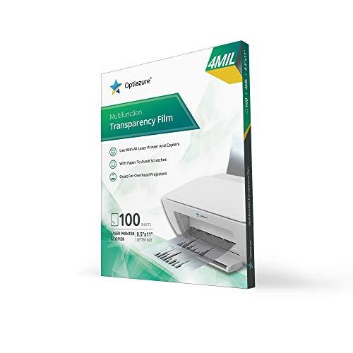 Optiazure Transparency Film, Overhead Projector Film for Laser Jet Printer and Copier, Letter Size 100Pack Sheets