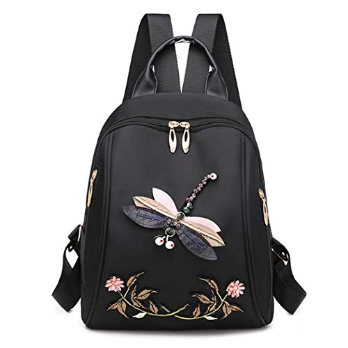 M STAR Leisure Backpack Embroidered Backpack 3D Dragonfly Backpack Female Ethnic Style Waterproof School Bag Outdoor Travel Bag,Black