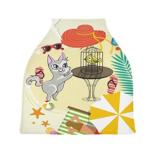 Playa De Arena Gato Pájaro La Lactancia Materna Enfermería Cubierta Asiento de Coche de Bebé con Dosel Transpirable Carros de La Compra Cubierta para Bebé