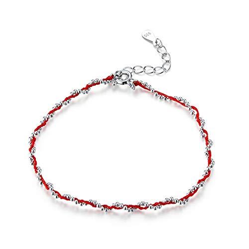 Pulsera De Cuerda Negra Y Roja con 925 Cuentas De Plata Esterlina Pulseras De Cadena para Mujer 2020 Año Nuevo Giriendship 20cm