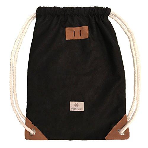 SODERBERGH Turnbeutel Gym Bag Sack Rucksack Sportbeutel Tasche Canvas Hipster Unisex Damen Herren Kinder, Farbe:Schwarz