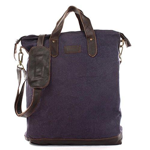 LECONI Shopper Leder + Canvas Vintage-Look Umhängetasche für Damen Henkeltasche große Beuteltasche DIN A4 Damentasche Handtasche 39x45x10cm navy LE0037-C