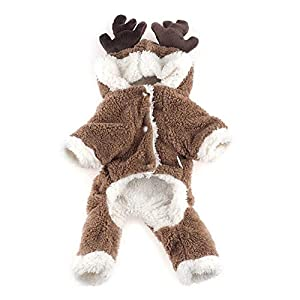 Cute Reindeer Pet Jacket Costume Elk Moose Soft Warm Clothes Coral Fleece Pet Hoodie Coat Winter Hooded Clothes Sweater Jumpsuit Christmas Apparel for Puppy Dog - Size S