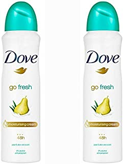 2 Pack Dove Go Fresh Pear & Aloe Antiperspirant Deodorant Spray, 150ml each