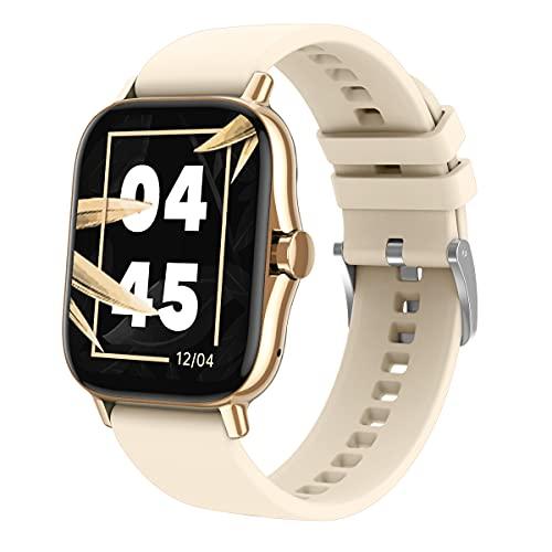 WSJZ Reloj Inteligente para Mujeres,Monitores De Actividad con 24 Modos Deportivos E Impermeables,Monitores De Actividad Física con Monitor De Frecuencia Cardíaca,para Teléfono Android/iOS,Beige