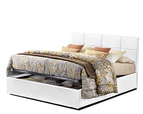 Letto 1 piazza e mezza con box contenitore elegante e moderno similpelle bianco incluse doghe in legno di faggio