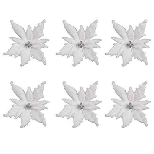 Valery Madelyn 6 Pieces Frozen Winter Fluffy Poinsettia Artificial Christmas Flowers Tree Picks Spray Ornaments with Clips for Xmas Tree Ornaments(White)
