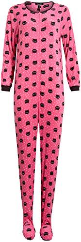 Rene Rofe Ladies Sleepwear One-Piece Footed Onesie Pajama (Azalea Pink/Kitty, Large)'