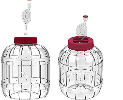 lilawelt24 2 x Gärbehälter aus Kunstoff Gärbehälter mit Gäraufsatz, für Wein, Bier, Maische Weck, Weinballon Gärballon 5L Flasche