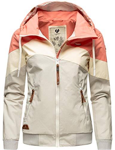 Ragwear Damen Übergangsjacke Regenjacke mit Kapuze Nuggie Block Coral21 Gr. XL