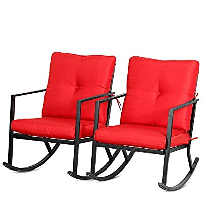 Bali Outdoor 2 Piece Modern Outdoor Patio Rocking Chairs Outdoor Furniture w Red Thick Cushions, Black Steel Frame