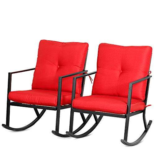 Bali Outdoors 2 Piece Modern Outdoor Patio Rocking Chairs Outdoor Furniture w Red Thick Cushions, Black Steel Frame
