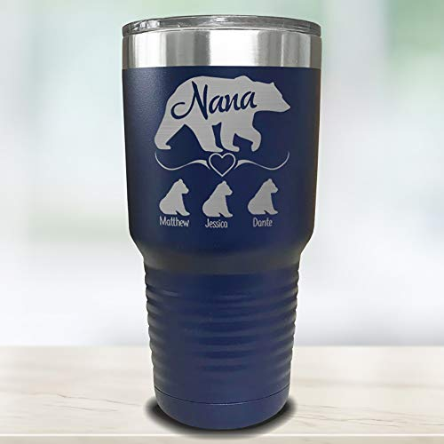 Grandparents Personalized Laser Engraved Tumbler with Grandchildren Names Gift for Grandma, Customized Mug, Insulated For Coffee, Water + More