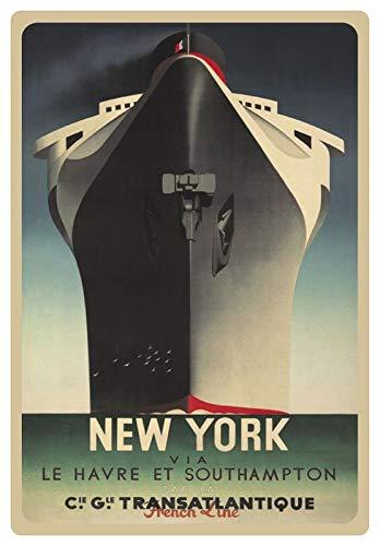 Blechschild 20x30cm gewölbt Werbe Plakat Schiff Transatlantik New York Deko Geschenk Schild