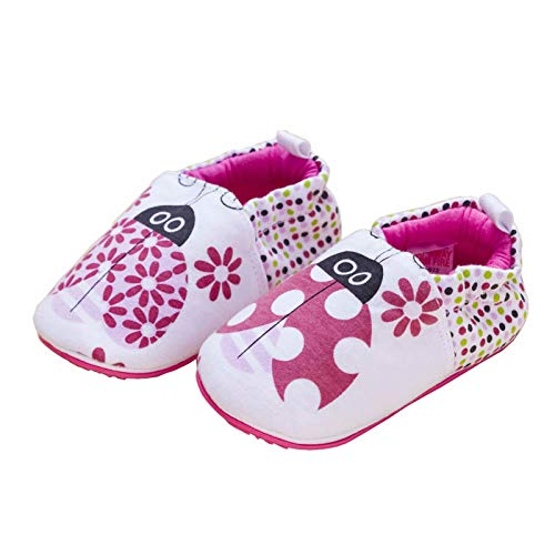 Baby Shoes 12-18 Month, Infant Toddler Girls Shoes Slip on Baby Kids First Walking with No-Slip Rubber Soft Sole, Breathable and Comfortable for Indoor Outdoor Use, Cute Rose