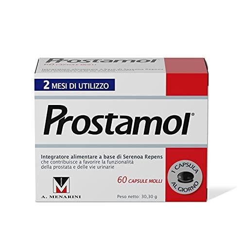 Prostamol - integratore Alimentare che contribuisce a favorire la funzionalità della Prostata e delle vie Urinarie. 60 Capsule molli da 505 mg.
