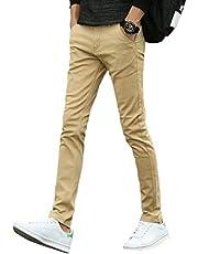 Mikino チノパン メンズ ストレッチ ロングパンツ ズボン スキニーパンツ 大きいサイズ 小さいサイズ ファッション スリムフィット 美脚 細身 驼色s