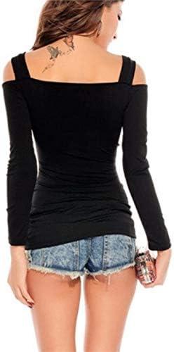 ZANZEA Damen Bluse Schulterfrei T-Shirt Langarmshirts Carmenbluse Cut Out Top Oberteil