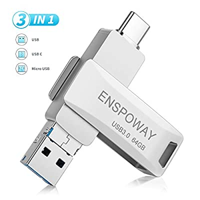 ENSPOWAY USB C Memory Stick 64GB, Mini Type C Dual USB Flash Drive 3 in 1 USB 3.0, Type C, Micro USB with Keychain for Android Smartphone,Tablet, MacBook, PC(64GB Silver)