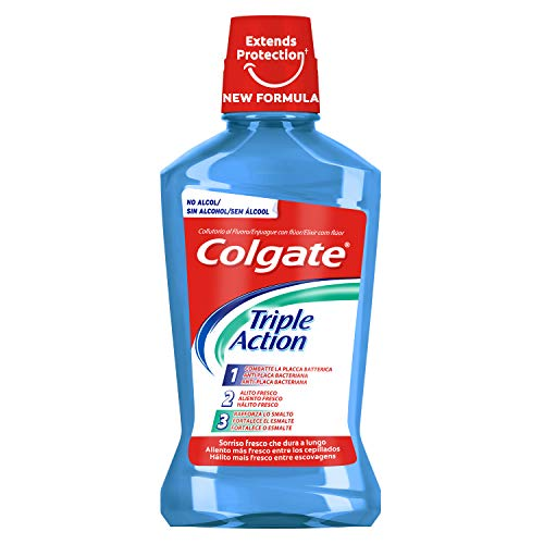 Colgate Triple Action Enjuague Bucal, Azul, Menta, 500ml