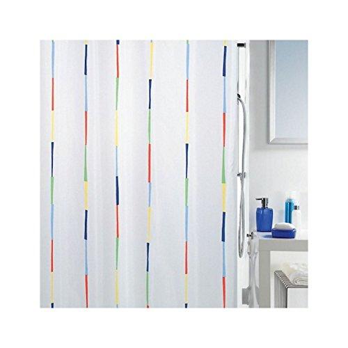 Spirella Anti-Schimmel Duschvorhang Dario Anti-Bakteriell, waschbar, wasserdicht Polyester 180x200cm Bunt Weiß