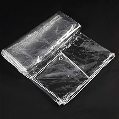 Lona PVC Transparente Cubierta protectora Carpas de Impermeable Toldo Plástico,para jardín Balcón Flor Cultivos Invernadero Protección Película,con Ojales,440g/m² Grueso 0.4mm(1x5m/3.3x16.4ft)