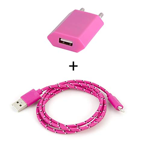Shot Case Universal Android Wall Charger Pack for iPad Mini 2 Lightning (3 m Braided Cable Charger + USB Plug) in Pink