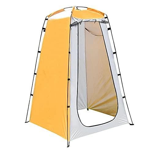 Faderr Tienda de campaña de ducha portátil cambiador para exteriores, 120 x 120 x 190 cm, con barra de estaca, cuerda, bolsa de almacenamiento (amarillo y gris)