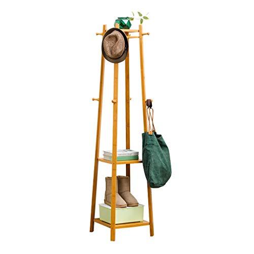 Zcyg Perchero con zapatero y 8 ganchos para sombreros, estante de almacenamiento de 2 niveles, soporte de madera para bolso, ropa, sombreros y zapatos