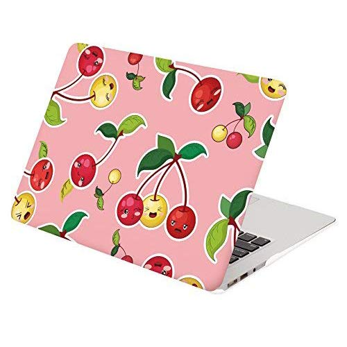 DWON MacBook Air 13 Inch Case with Keyboard Cover and Dust Plug for Apple MacBook Air 13 Inch Sleeve Model A1369 and A1466 - Pink Cherry