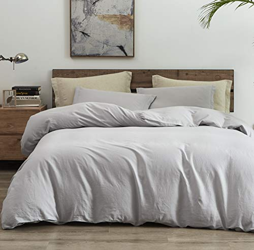 "PHF 55% French Linen 45% Cotton Duvet Cover - 3 Pieces, King (106"" x 92""), 4 Corner Ties and 2 Pillowshams - Breathable Soft Comfortable Comforter Cover Set for All Season, Light Grey"