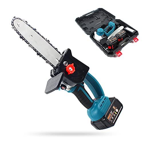 SHZICMY Motosierra eléctrica con batería de 18 V, con cargador y 2 baterías, sierra de cadena eléctrica de una sola mano, para podar y cortar madera