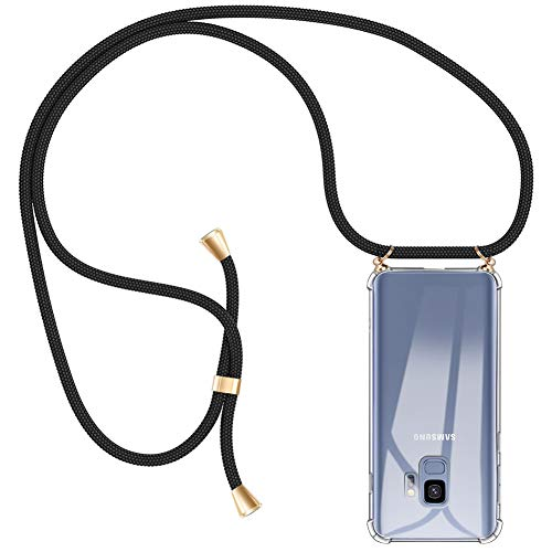 AODOOR Handykette kompatibel mit Samsung Galaxy S9, Hülle Galaxy S9 Handyhülle mit Kordel Umhänge Band Silikon Schutzhülle mit Band, Halsband Handy-Kette Case mit Necklace Schnur für Samsung Galaxy S9