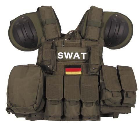MFH Weste, Combat, div. Taschen, Oliv, größenverstellbar, QR