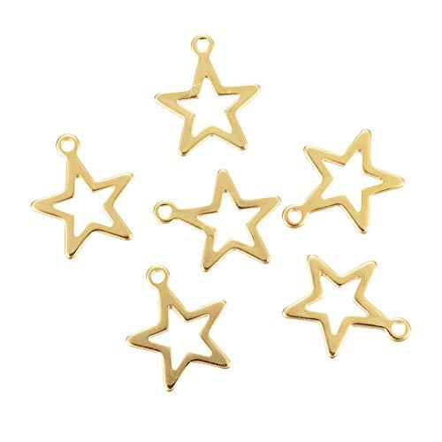 UNICRAFTALE 10個 14.5x12.5x0.8mm スタートチャーム 星空シリーズペンダント 五芒星チャーム 星形 可愛い ゴールデン メタルチャーム 垂れ飾り ネックレスパーツ ジュエリー作り ネックレスブレスレットイヤリング用 アクセサリー