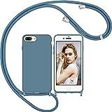 Nupcknn Funda Silicona Líquida con Cuerda para iPhone 7 Plus/8 Plus/6 Plus/6S Plus, Carcasa Suave Silicona Case con Correa Colgante Collar de Cuello Cadena Cordón(Azul ladrillo)