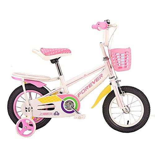 HUAQINEI Bicicleta para niños de 12'14' 16'18', Adecuada para niñas y niños de 2 a 13 años, Rosa, Negra