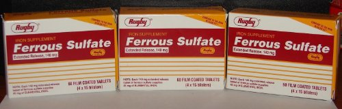(3 Pack) Rugby Ferrous Sulfate Tablets 140 Milligram, 60 Count