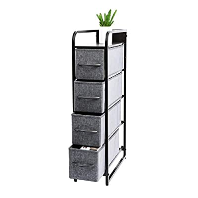Kamiler Narrow Dresser Storage 4 Drawers, Tall Vertical Organizer Tower Unit for Bedroom/Closets/Laundry Room/Hallway/Entryway, Sturdy Steel Frame, Wooden Top, Removable Fabric Bins-Gray - Keep Your Home Tidy: Kamiler narrow dresser storage with 4 separate drawers helps you sort items by type; Narrow Vertical design allows you to place more items while saving more space; This chest of drawers can be used in multiple rooms, ideal for closets, laundry room, bedrooms, living room, hallway, nurseries, playrooms, entryways, college dorm, office, etc. Practical and Portable: This vertical storage drawer stand boasts a slim, light-weight design to easily fit into smaller spaces while still providing plenty of storage room; Holder of rounded corner enables you to move it conveniently to anywhere in your room. Attention to Details: Elegant wooden handle on drawers for opening and closing more easily; Adjustable feet for uneven ground and protect the floor from scratches; Water-resistant wood top and backboard provides a safe place for putting cups, glass, clocks, shampoo, body lotion etc. - dressers-bedroom-furniture, bedroom-furniture, bedroom - 413G+1sh3kL. SS400  -