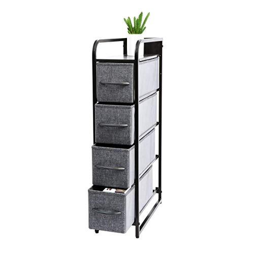 Kamiler - Cómoda de almacenamiento estrecho con 4 cajones, organizador vertical alto para dormitorio, armarios, lavandería, pasillo,...