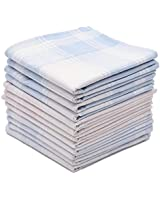 Soft Cotton Handkerchiefs for Men with Elegant Pattern in Assorted Color, 16 inches Large hankies, Pack of 12