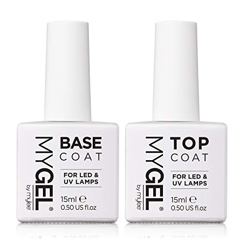MYGEL by Mylee Nail Gel Polish Top & Base Coat 2x15ml UV LED Soak-Off Nail Art Manicure Pedicure for Salon & Home Use - Lasts up to 2 Weeks, Easy to Apply, No Chips, Durable & Safe